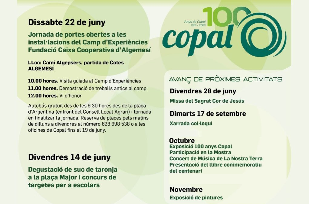 Programa de actos de celebración del centenario de COPAL